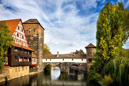 Nuremberg, Hangman's Bridge over the Pegnitz River. Franconia, Germany