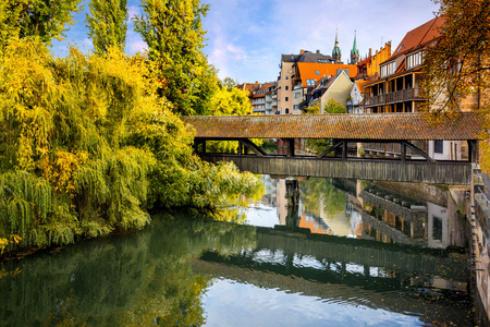Nuremberg, Hangmans Bridge over the Pegnitz River. Franconia, Germany Stock Photo