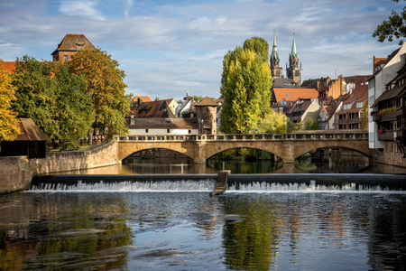 Nuremberg, Max Bruke Bridge over the Pegnitz River. Franconia, Germany