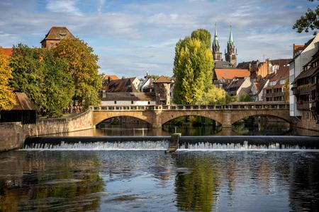 Nuremberg, Max Bruke Bridge over the Pegnitz River. Franconia, Germany