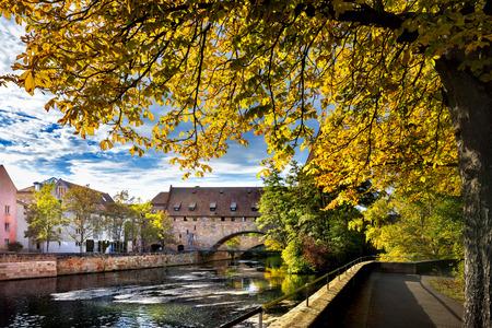 Nuremberg, Schlayer Hallergate Bridge over the Pegnitz River. Franconia, Germany