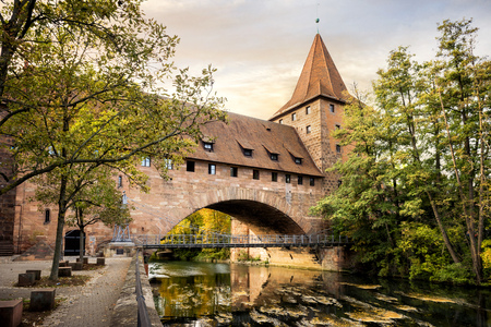 Nuremberg, Schlayer Hallergate Bridge over the Pegnitz River. Franconia, Germany
