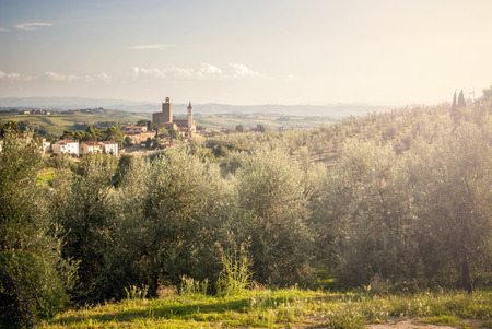 Panoramic view of Vinci town, at sunset, in Tuscany, Italy Stockfoto