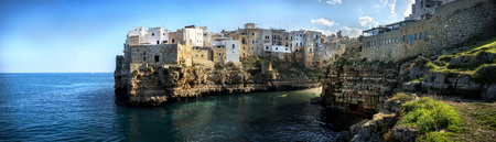 Polignano a Mare: panoramic view of the city on the cliff. Bari, Apulia, southern Italy