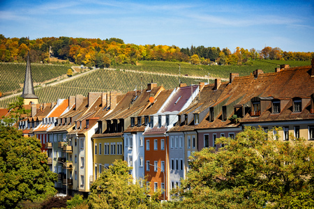 Wurzburg, view of the city and the vineyards. Authentic beautiful towns of Germany. Northen Bavaria, Germany.