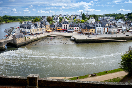 Auray - Port of Saint-Goustan. Panoramic view of the old city center. Brittany, France