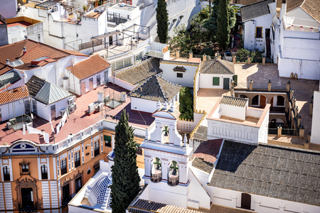 View of Seville city from the Giralda Cathedral tower, Seville (Sevilla), Andalusia, Southern Spain.