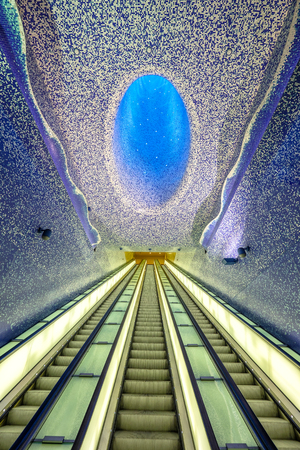 Naples, Italy. Toledo Metro Station designed by architectural firm Oscar Tunquets Blanca. One of several art stations in the city of Naples.