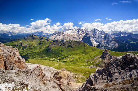 Belvedere and Marmolada Glacier seen from Sass Pordoi. Trentino Alto Adige, Italy Foto de archivo