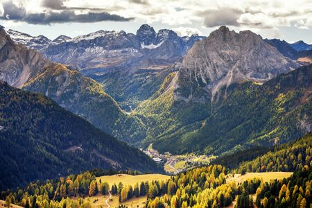 Malga Ciapela at the foot of the Marmolada, from where the cableway that leads to the top of the Queen of the Dolomites starts. Trentino Alto Adige, Italy Foto de archivo