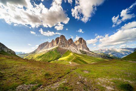Sassolungo group seen from Col Rodella. Dolomites, Val di Fassa, Trentino Alto Adige, Italy