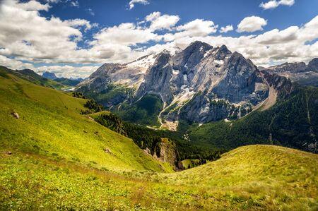 Marmolada Glacier seen from Belvedere. Trentino Alto Adige, Italy