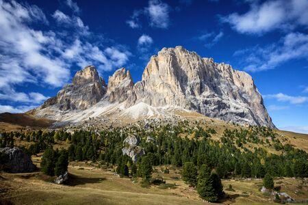 Sassolungo and Sassopiatto mountains from Sella pass, Dolomites Alps , Trentino Alto Adige South Tyrol, Italy