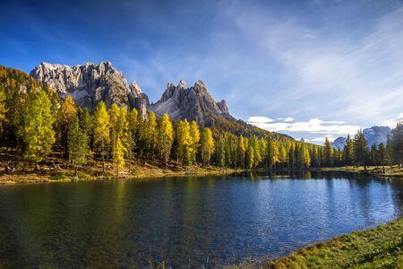 Autumn view at Lago Antorno, Dolomites, Lake mountain landscape with Alps peak, Misurina, Cortina d'Ampezzo, Italy