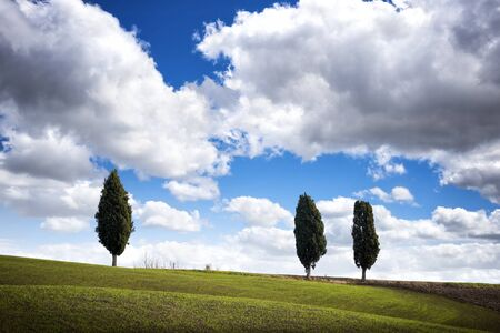 Tuscan hill with cypresses and clouds, Tuscan landscape. Tuscany, Italy Foto de archivo