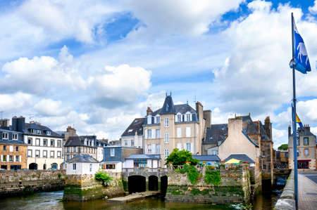 Landerneau, The Pont de Rohan. A bridge with shops and houses built on it. Brittany. France Editorial