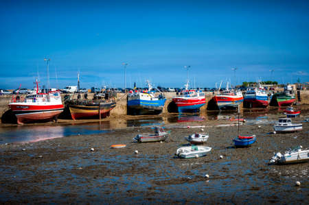 ROSCOFF - BRITTANY - AUGUST 20, 2019. Fishing in port during low tide. Brittany, France
