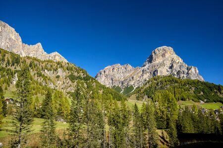 View of massiccio Sassongher in Val Badia. Italian Dolomites