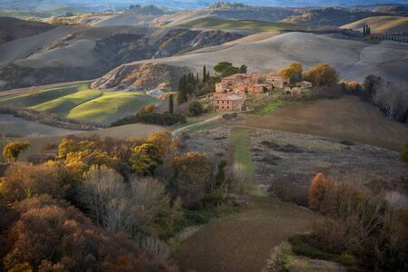 Tuscan hills at the sunset, Tuscan landscape. Tuscany, Italy Foto de archivo