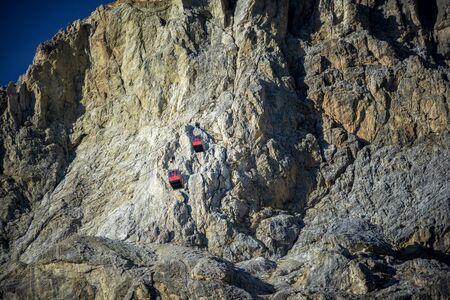 Cableway in the dolomites mountain, Falzarego Pass. Trentino Alto Adige, Italy