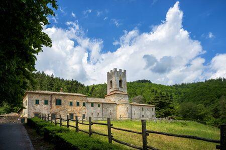 Old medieval abbey Badia a Coltibuono near Gaiole in Chianti, Italy