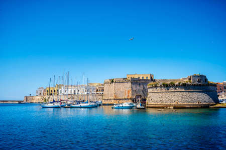 View of Gallipoli old town and harbor, Puglia Region, South Italy
