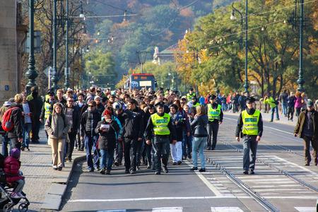 assemblies: PRAGUE, CZECH REPUBLIC - Oct 24th, 2015: Demonstration in Prague, Legion Bridge Czech Republic, on Oct 24, 2015 Editorial