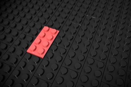 else: 3d illustration: red different toys piece lies on a black background is inserted in the groove. Business concept: unique, not like everyone else. Cube childrens plastic.