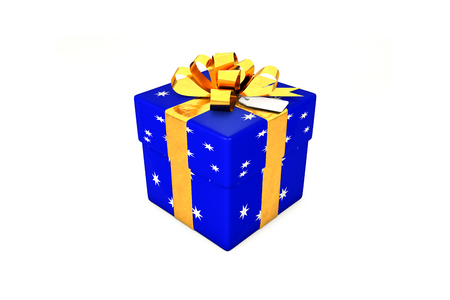 3d illustration: Bright dark blue gift box with star, golden metal ribbon  bow and tag on a white background isolated.