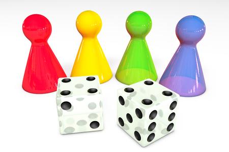 3d illustratie: Vier gekleurde transparante plastic stukken van het raadsspel met bezinning en wit twee dobbelen met zwarte die punten op witte achtergrond worden geïsoleerd Stockfoto