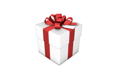 resolution: 3d illustration: White gift box with red silk ribbon  bow and tag on a white background isolated.