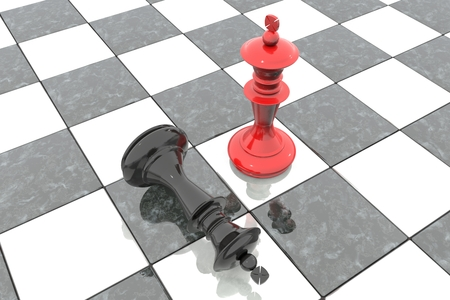 3d illustration: Two chess figures on the playing field. Red king is a winner and a loser. Fallen. Marble Board game. Business strategy concept. Intellectual sport.