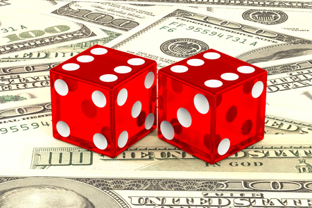 3d illustration: high quality rendering of transparent two red dices with white dots lie on the background of green 100 dollar money. Vegas fortune casino gambling concept. The chance to win wealth. Stock Photo