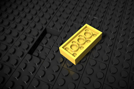 one person with others: 3d illustration: Yellow different toys piece lies separately on the black background is not inserted in the groove. Business concept: unique, not like everyone else. Cube childrens of erector set. Stock Photo