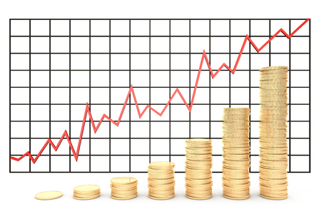 rouble: 3d illustration: metal copper-gold coins graph chart stock photography red-gold isolated on white background. Profit increase.