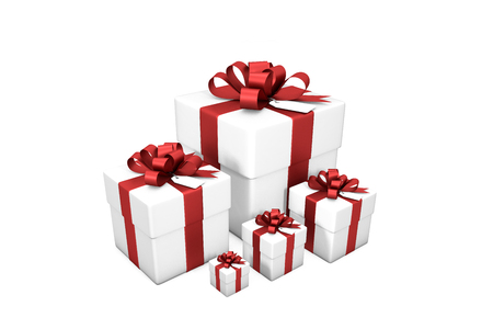 3d illustration: Five white gift boxes isolated on white background. Isolated on white background.