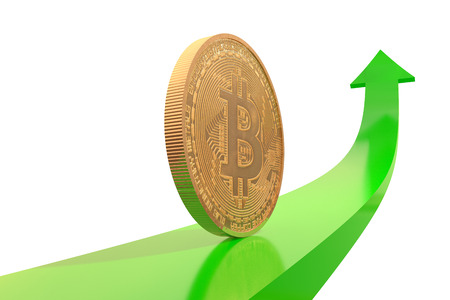 3d illustration: Copper-golden bitcoin coin on green arrow upward with reflecting surface on white background. Virtual money. Quotes go up.  Business concept. Investments. Mining. Currency exchange.