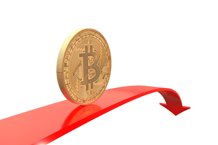 3d illustration: Copper-golden bitcoin coin on red arrow downward with reflecting surface on white background. Virtual money. Quotes go down.  Business concept. Investments. Mining. The bubble burst.