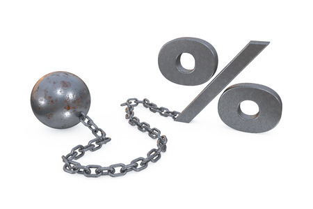 3d illustration: rust iron ball and chain with the cuff hanging percent symbol on white background. Restrictions and limits. Loss of freedom. Boundaries. The interest on the loan and the mortgage.