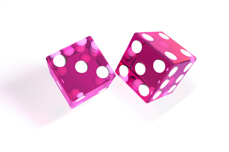 3d illustration: quality rendering image of transparent pink rolling dices with dots. The cubes in the cast. throws. On white background isolated. High resolution. Realistic shadows.