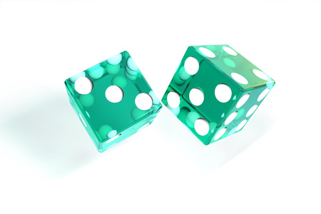 3d illustration: quality rendering image of transparent turquoise rolling dices with dots. The cubes in the cast. throws. On white background isolated. High resolution. Realistic shadows. Stock Photo