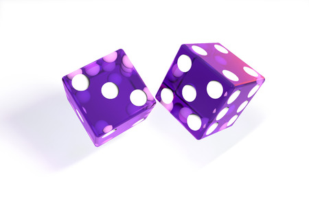 3d illustration: quality rendering image of transparent purple rolling dices with dots. The cubes in the cast. throws. On white background isolated. High resolution. Realistic shadows.