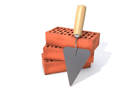 3d illustration: Three red silicate bricks stacked in a pile with a tool for laying mortar - trowel Isolated on white background. Business metaphor concept: planning and construction of housing. Foto de archivo