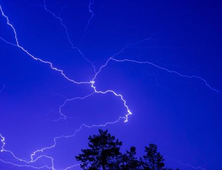 thunderhead: Lightning in the night sky above the treetops. Lightning Bolt Strike, storm.