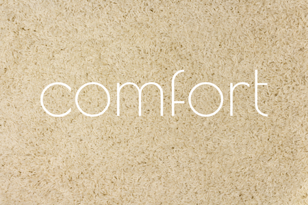 Soft furry carpet texture. Comfort, text