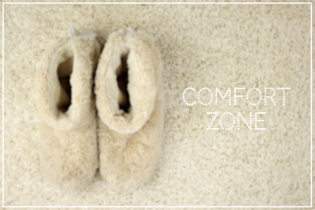 Slippers on carpet. Comfort zone concept
