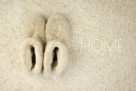 Slippers on carpet. Home. Comfort zone concept