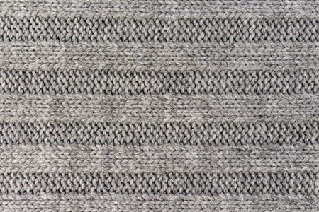 Horizontal striped gray knitting fabric texture, knitted pattern background
