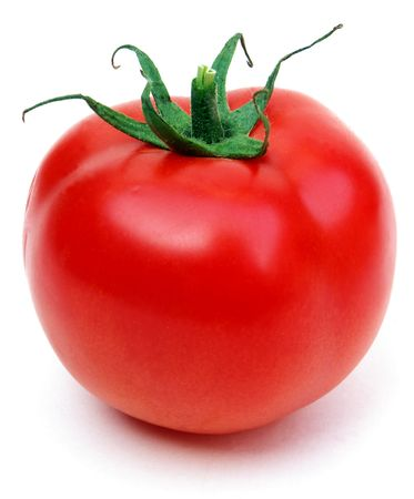 Single tomato isolated on white background Stock Photo