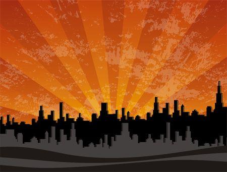 red sunset: Illustration of sun setting over highrise city skyline